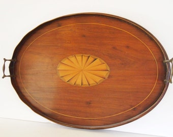 Mahogany inlaid Wood Serving Tray marquetry Georgian Period TRUE ANTIQUE 1714 - 1830