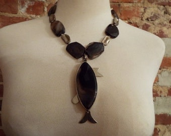 Bold Agate Statement Necklace w/Fish Shaped Pendant