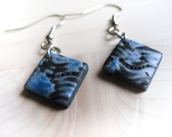 Torquoise, silver and black polymer clay earrings
