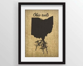 Ohio Roots on Actual Burlap Fabric