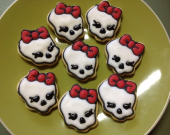 12 Monster High iced cookies.