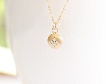 14k Yellow Solid Gold Round Diamond Necklace, Matte Finished Round Necklace