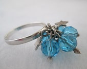 STERLING BEAD RING, blue crystal ring, sterling stars ring, beads and stars ring, stars, beads ring, size 7 ring, sterling ring, star ring
