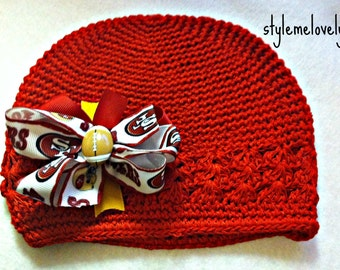 San Francisco 49ers Baby Girl Boutique Bow Crocheted Hat