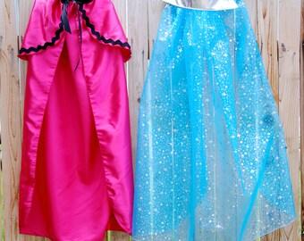 queen elsa and princess anna cape set sisters cape set twins cape set