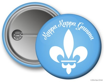 KKG Kappa Kappa Gamma Fleur De Lis Sorority Greek Button