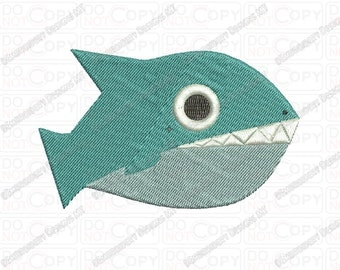 Pirahna Fish Embroidery Design in 2x2 3x3 and 4x4 Sizes