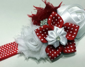 Red and White Polka Dot on Stretchy Headband - baby, infant, teen, adult