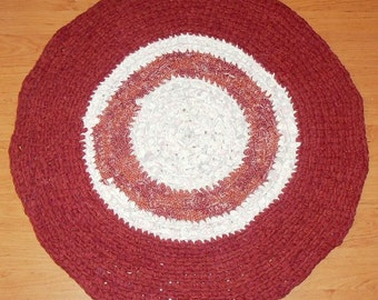 russet white coloured DIY Crochet Round Rag Rug Mat Bathroom Eco friendly