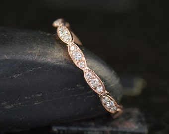 Diamond Band in 14k Rose Gold with Inset Beaded Milgrain, 0.18ctw, 2.0mm Wide, 1/2 Eternity Style, Wavy Wall Band, Lesly B