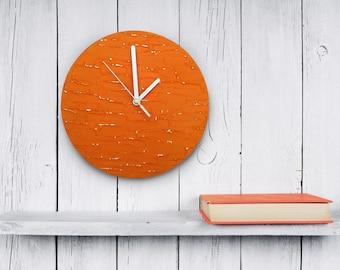 Orange clock modern WALL CLOCK UNIQUE wood wall clock orange wall decor tangerine clock