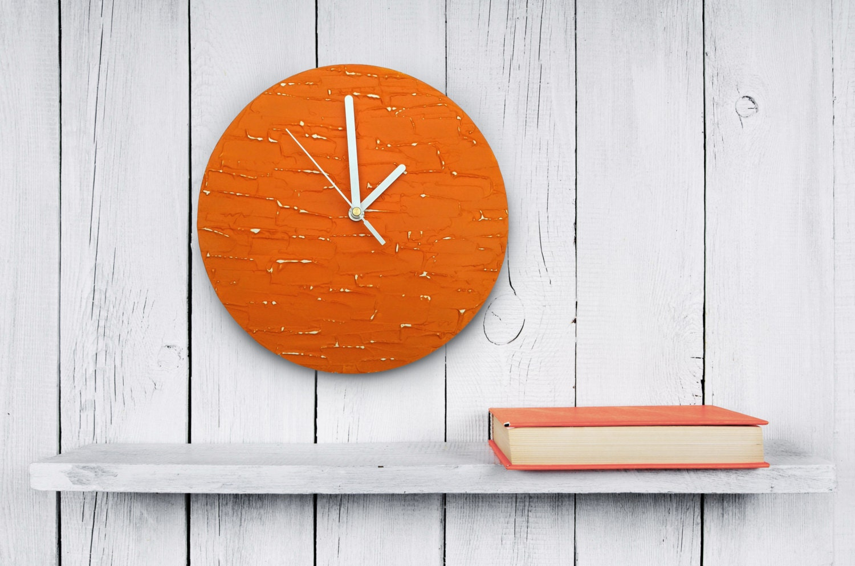 Designer Wall Clocks Online: Orange Clock Modern WALL CLOCK UNIQUE Wood Wall Clock Orange