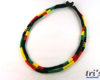 Double Rasta Necklace,Hippie Necklace,Bob Marley Necklace,Wrapped yarn necklace