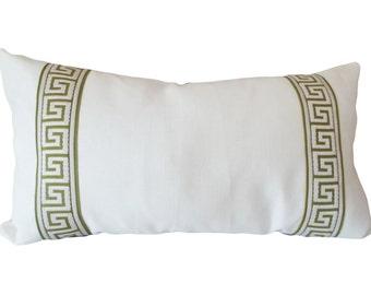 Green Greek Key Embroidered Linen Decorative Pillow Cover - 14x24 Lumbar Pillow - Throw Pillow - Toss Pilllow - Greek Key End Bands One Side