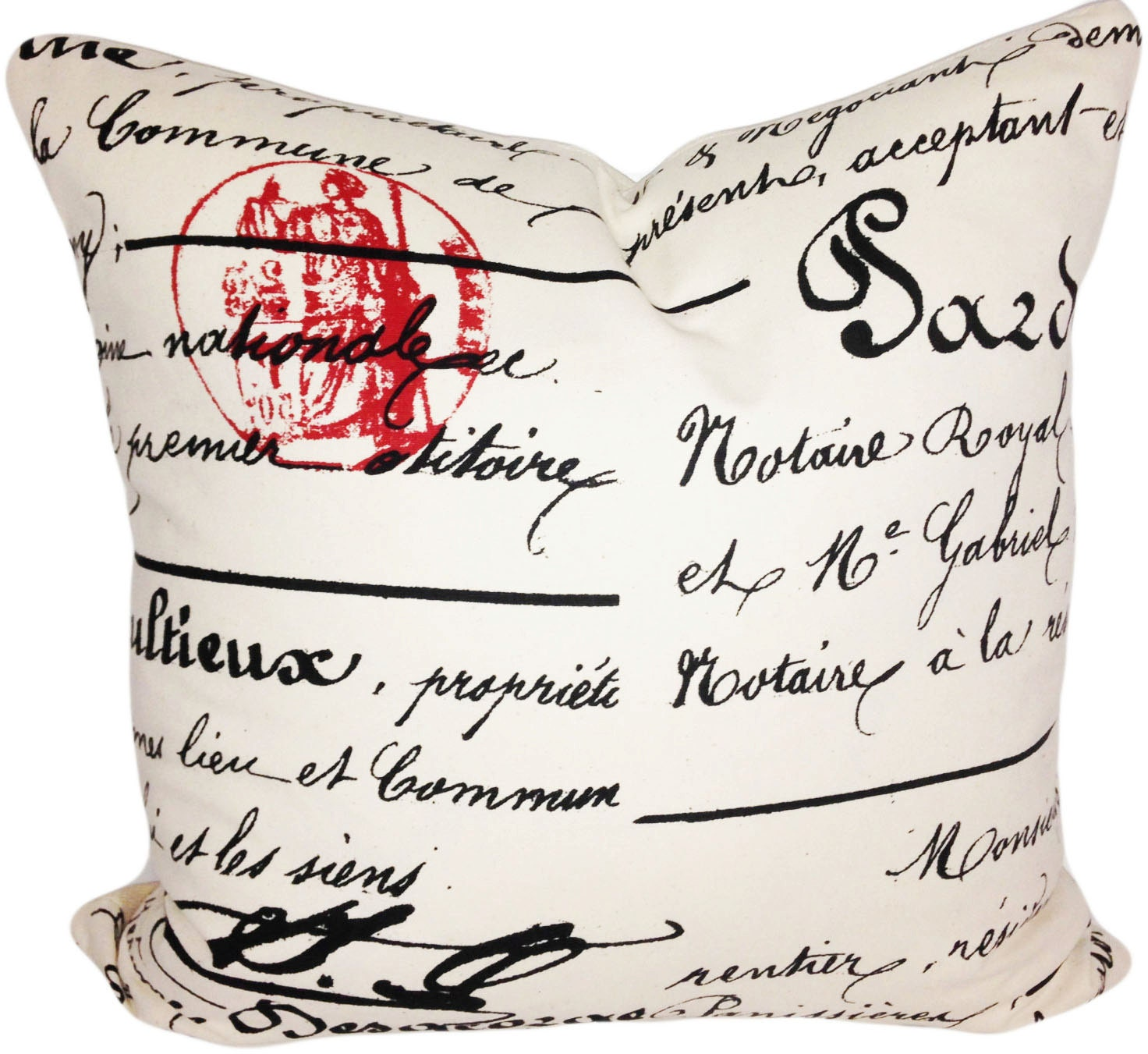 Throw Pillows With French Script : Vintage French Script Decorative Pillow Cover 20x20 Throw