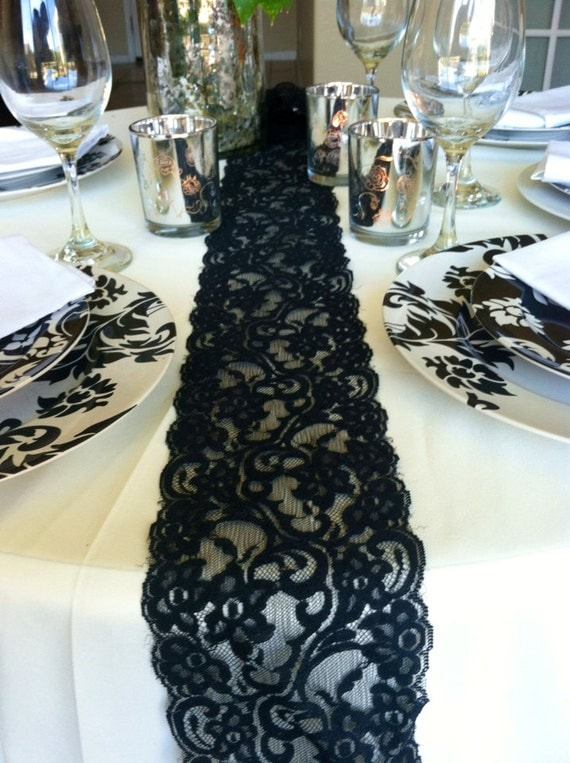 Sale lace table runner black 6ft 4 5in x 78in longwedding decor