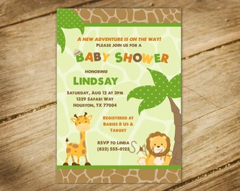 Safari Animals - Jungle Safari Themed Baby Shower Invitation