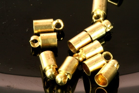 20 pcs 4 X 7,7 mm 3,4 mm inner with loop raw brass cord  tip ends, raw brass ribbon end, raw brass ends cap, findings ENC3