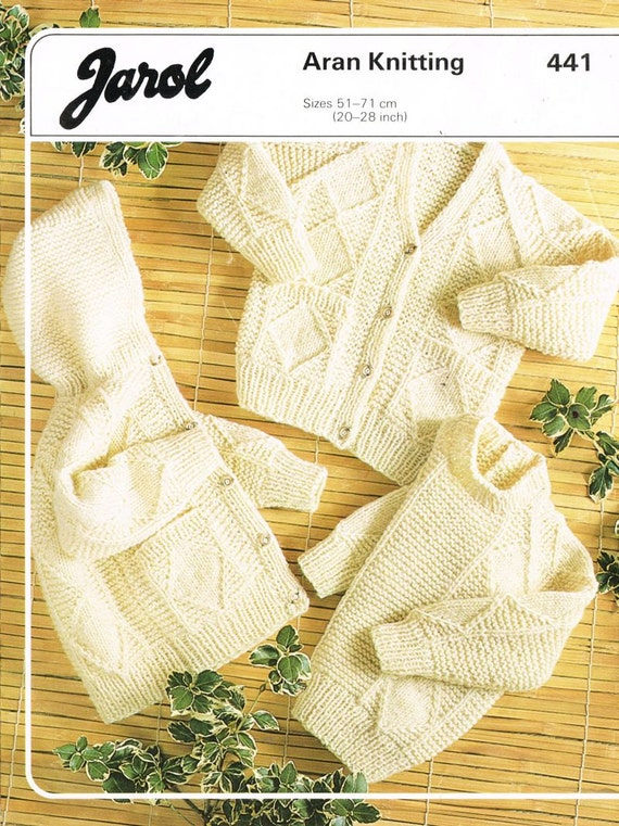 Jarol Knitting Patterns : Jarol 441 baby aran style jumper and cardigan by Ellisadine