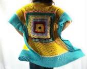 Crochet, Shawl, Jacket,Vest,Kimono,Throw,Vintage,Batwing,Waistcoat,Festival,Granny Square,Patchwork,Blanket,Upcycled,Retro,Yellow,Blue,