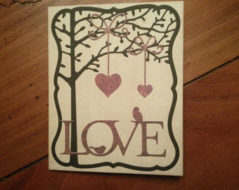 Hanging Hearts Love Card