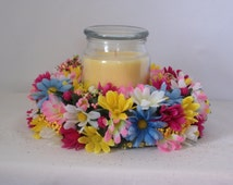 Spring Flower Candle Ring, Silk Flower Candle Ring, Candle Ring, Spring Wedding Decor