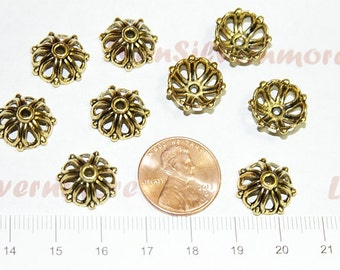 30  pcs - 14mm 6mm deep Large Bead Caps Antique Gold Lead Free Pewter