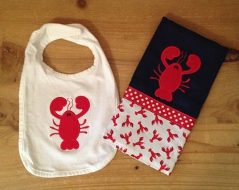 Lobster Bib and Burp Cloth Set