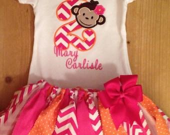 Pink and Orange Girly Monkey Tutu Outfit