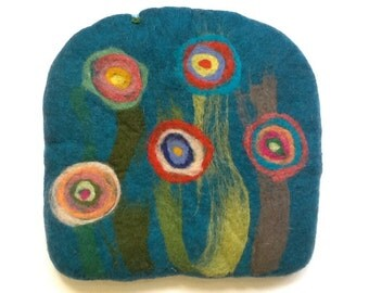 Handfelted Seat Cushion half round half square with big flowers, turquoise