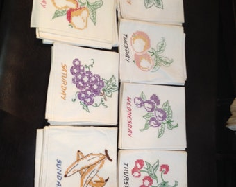 Vintage Complete Set Days of the Week Fruit Table Cloths