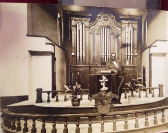 Vintage Postcard of African American Preacher Standing at Church Pulpit Photograph postcard