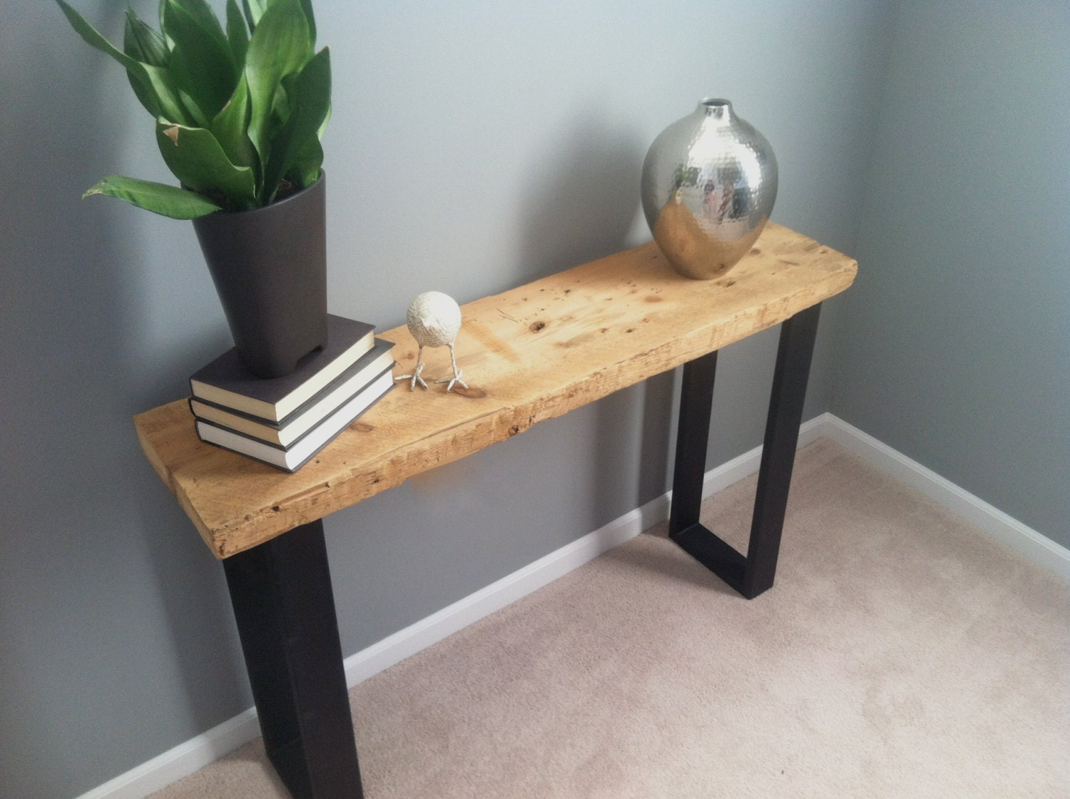 4ft salvaged wood console table with steel by for 4ft sofa table