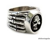 Skull Ring with skeleton hands | King of Skulls | Sterling Silver Rings | Men Rings | Heavy silver ring | Handmade on demand | 0189 8