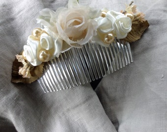 Bridal Hair Accessorie/comb with silk and ribbon roses in ivory and coffee