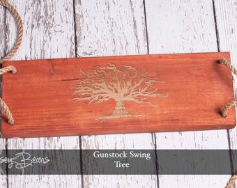 Red Oak Tree Swing with Tree of Life Engraved, Reclaimed Red Oak Swing Engraved, Outdoor Swing