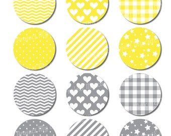 CUPCAKE TOPPERS Grey and yellow - Instant Download