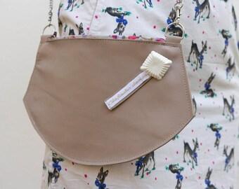 Crossbody EVE beige leather - small shoulderbag - handbag -  by Clafoutisdesign