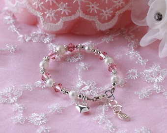 Girls Sterling Silver Baby Bracelet with Freshwater Pearls and Swarovski Crystals Comes Gift Box for Gift for Girls and Baby Gift (015)