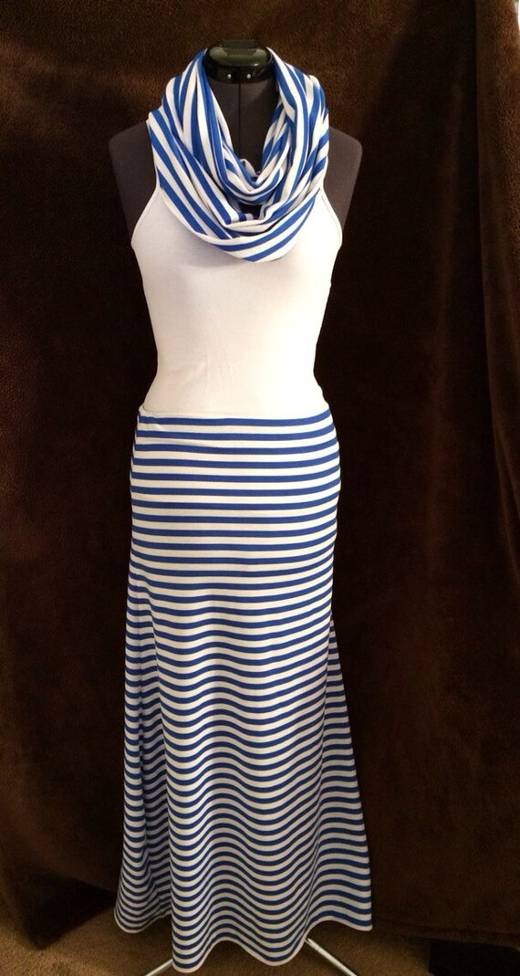 blue and white stripped maxi skirt