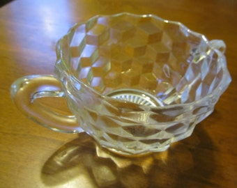 Fostoria Clear Glass Geometric Sugar Bowl