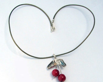 "Red coral silver necklace ""Coral Cherry"" .Free expedited shipping."