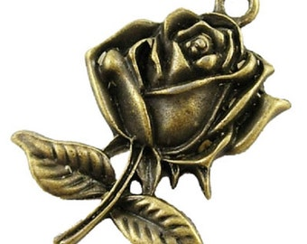 10 Rose Flower Charms STEAMPUNK -  Antique Bronze or Antique Silver TS119/TS20