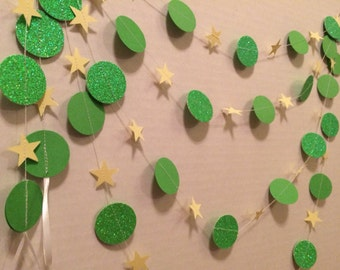 Tinkerbell Inspired Party Glitter Garland Birhtday Decoration Supplies 5 8 10 12 or 15 ft Green Yellow Stars and Circles Peter Pan Disney