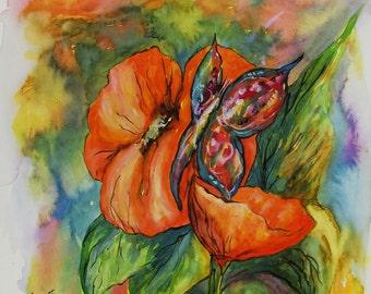 Original Aquarell, Flowers, Painting, Watercolor, Handpainted,  11,4 x11,4 inch. NOT a print. Tatiana-Art