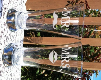 Mr. Mrs Etched Glass Traditional Beer Pilsners with Mustache and Lips Wedding Reception Shower Gift Glasses