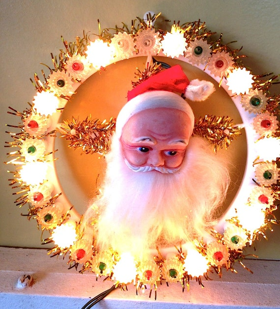 Vintage santa light christmas tree