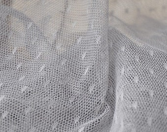 1 yard Gray Little Dots Veil Lace Tulle Gauze Lace Fabric Wedding CostumeHeadwear Supplies 61 Inches Wide