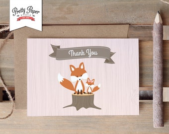 Woodland Thank You Card // INSTANT DOWNLOAD // Thank You Notes // Fox Baby Girl // Pink Baby Shower // Birthday Party // Printable BS02