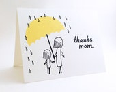 Simple Mother's Day Card // Cute I Love You Card for Mum // Card for Mothers Day // Mother Birthday Card // Thanks, Mom // Yellow Umbrella